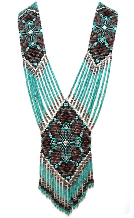 Turquoise Seed Bead Statement Necklace