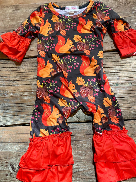 Girl's Squirrel Fall Romper