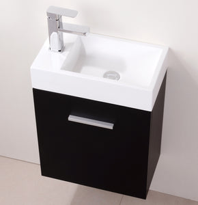 "KubeBath Bliss 18"" Black Wall Mount Modern Bathroom Vanity"