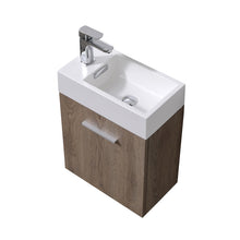 "KubeBath Bliss 18"" Butternut Wall Mount Modern Bathroom Vanity"