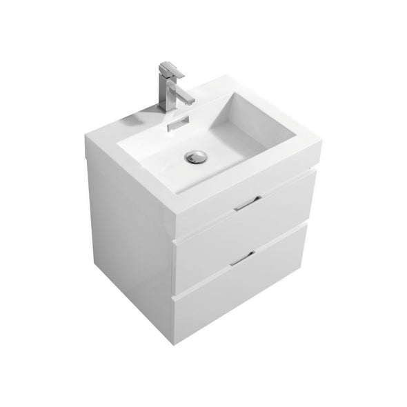 "KubeBath Bliss 24"" High Gloss White Wall Mount Modern Bathroom Vanity"