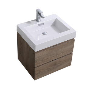 "KubeBath Bliss 24"" Butternut Wall Mount Modern Bathroom Vanity"