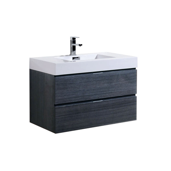 "KubeBath Bliss 36"" Gray Oak Wall Mount Modern Bathroom Vanity"