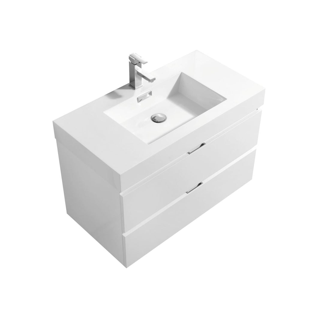 "KubeBath Bliss 36"" High Gloss White Wall Mount Modern Bathroom Vanity"