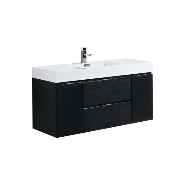 "KubeBath Bliss 48"" Black Wall Mount Modern Bathroom Vanity"