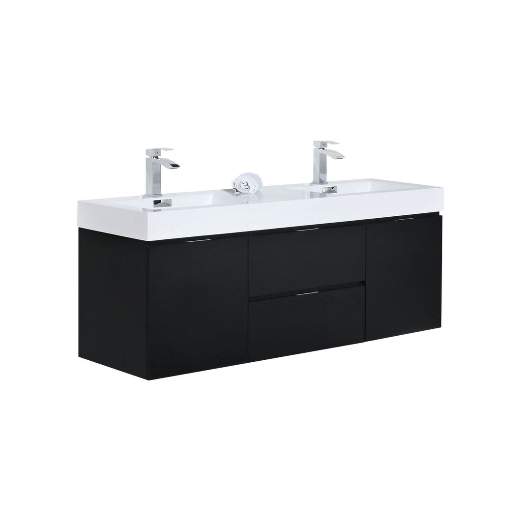 "KubeBath Bliss 60"" Double Sink Black Wall Mount Modern Bathroom Vanity"