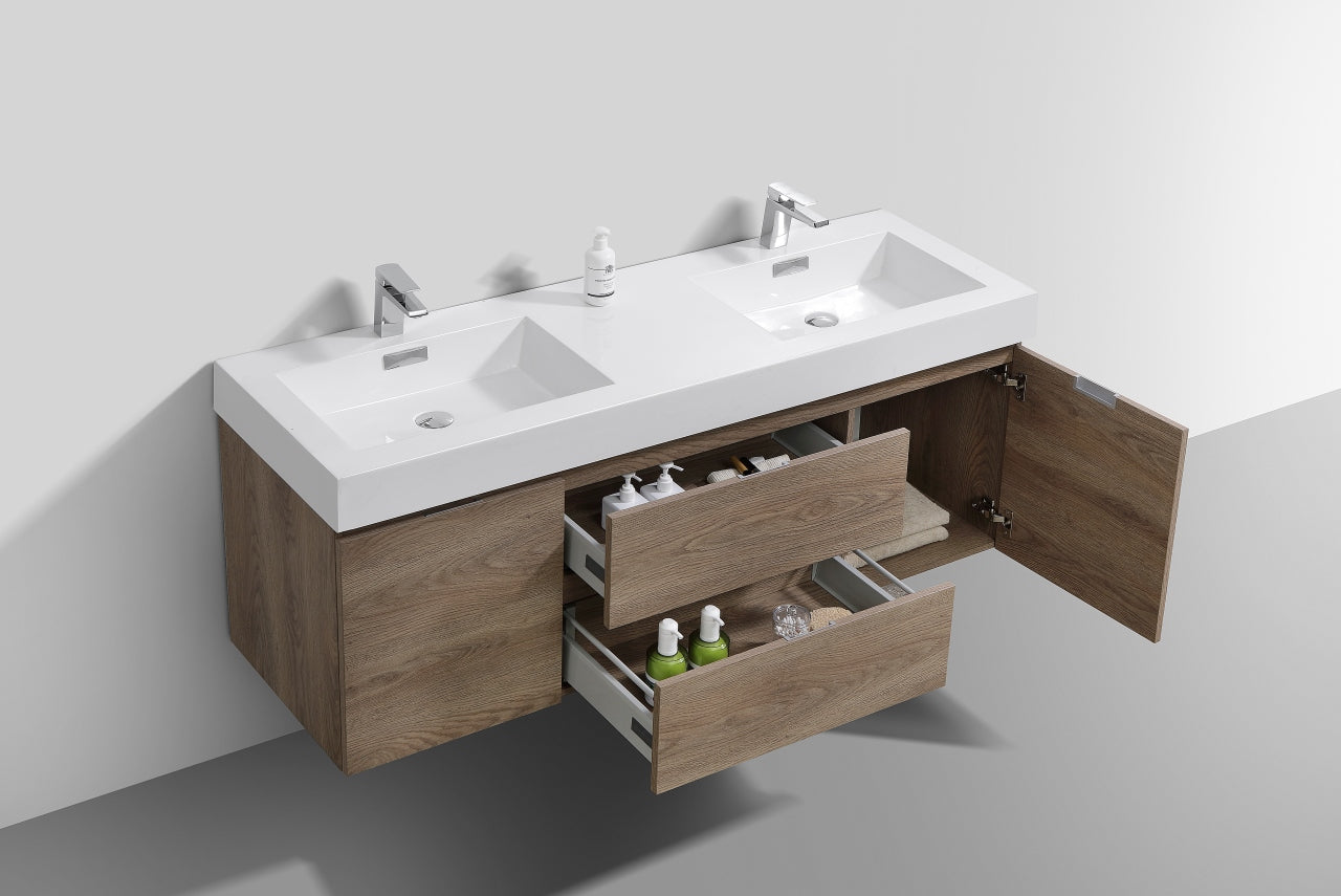 Kubebath Bliss 60 Double Sink Butternut Wall Mount Modern Bathroom Va Bath Cabinets Depot