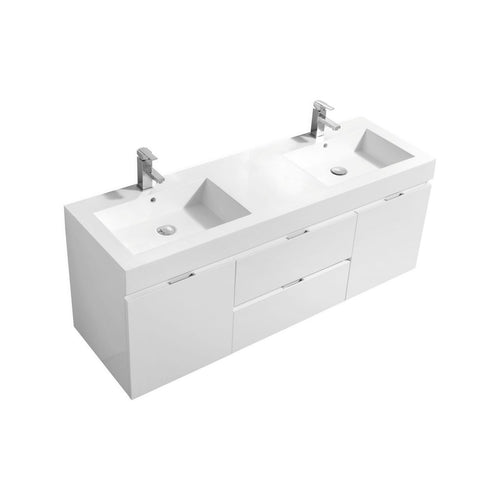 "KubeBath Bliss 60"" Double Sink High Gloss White Wall Mount Modern Bathroom Vanity"