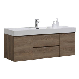 "KubeBath Bliss 60"" Single Sink Butternut Wall Mount Modern Bathroom Vanity"