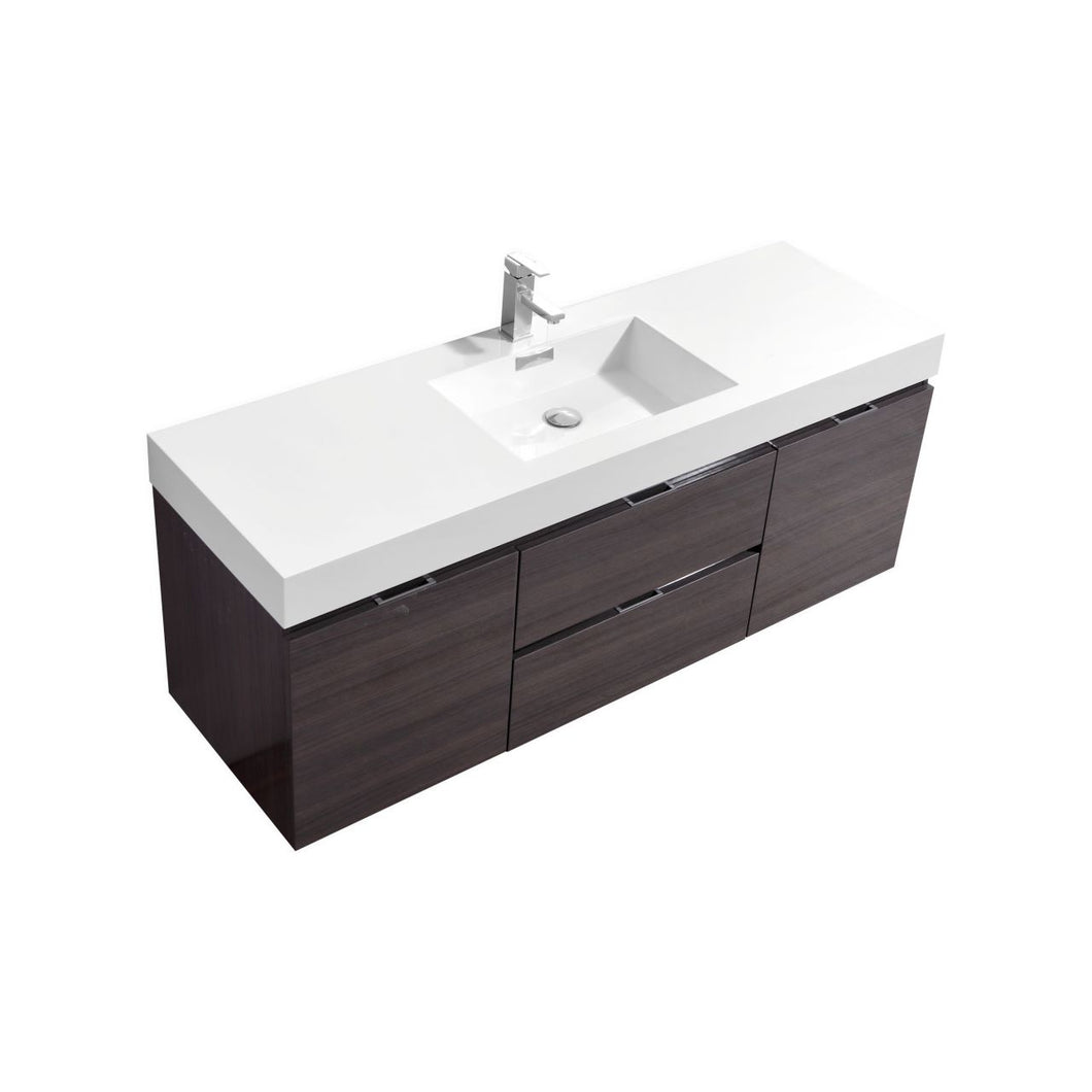 "KubeBath Bliss 60"" Single Sink High Gloss Gray Oak Wall Mount Modern Bathroom Vanity"
