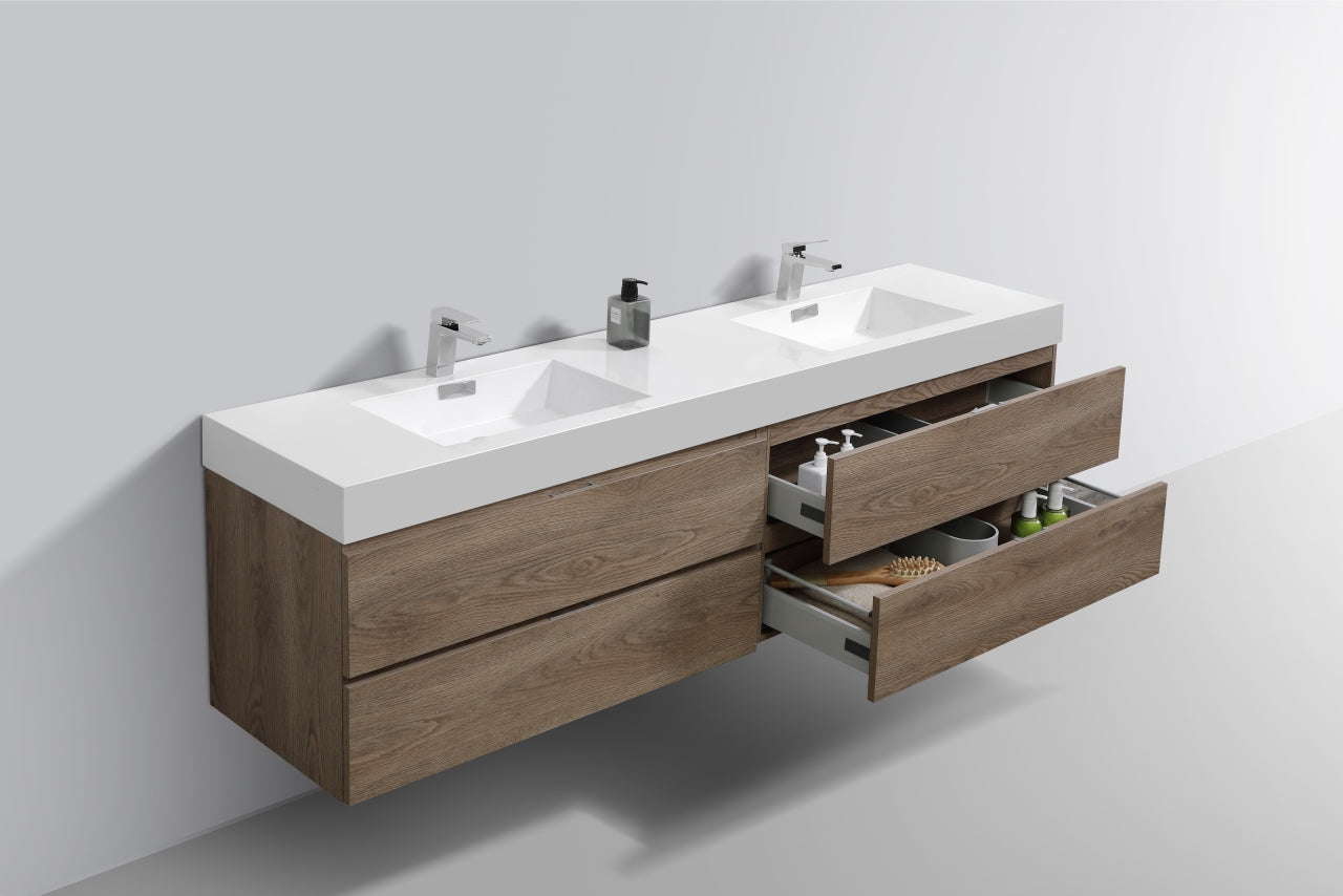 Kubebath Bliss 72 Double Sink Butternut Wall Mount Modern Bathroom Va Bath Cabinets Depot