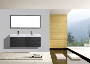 "KubeBath Bliss 72"" Double Sink Gray Oak Wall Mount Modern Bathroom Vanity"