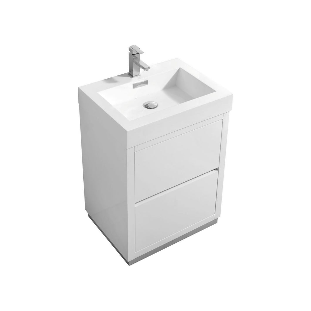 "KubeBath Bliss 24"" High Gloss White Free Standing Modern Bathroom Vanity"