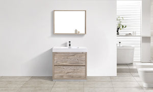"KubeBath Bliss 36"" Nature Wood Free Standing Modern Bathroom Vanity"