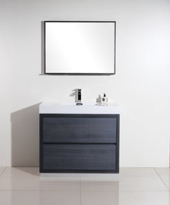 "KubeBath Bliss 40"" Gray Oak Free Standing Modern Bathroom Vanity"