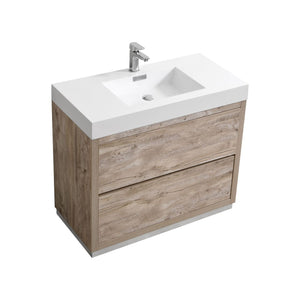 "KubeBath Bliss 40"" Nature Wood Free Standing Modern Bathroom Vanity"