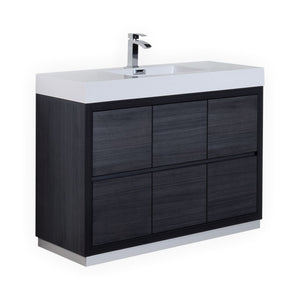 "KubeBath Bliss 48"" Gray Oak Free Standing Modern Bathroom Vanity"