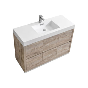 "KubeBath Bliss 48"" Nature Wood Free Standing Modern Bathroom Vanity"