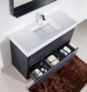 "KubeBath Bliss 60"" Single Sink Gray Oak Free Standing Modern Bathroom Vanity"