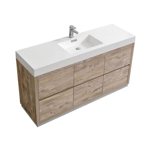 "KubeBath Bliss 60"" Single Sink Nature Wood Free Standing Modern Bathroom Vanity"