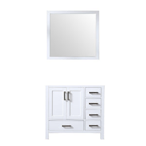"Jacques 36"" White Single Vanity, no Top and 34"" Mirror - Left Version"