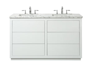 "Stufurhome Lang 56"" White Double Sink Bathroom Vanity"