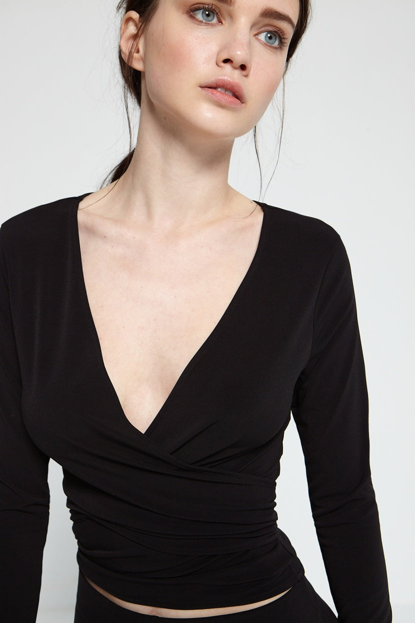 Piggi wrap top black - Etxart & Panno USA