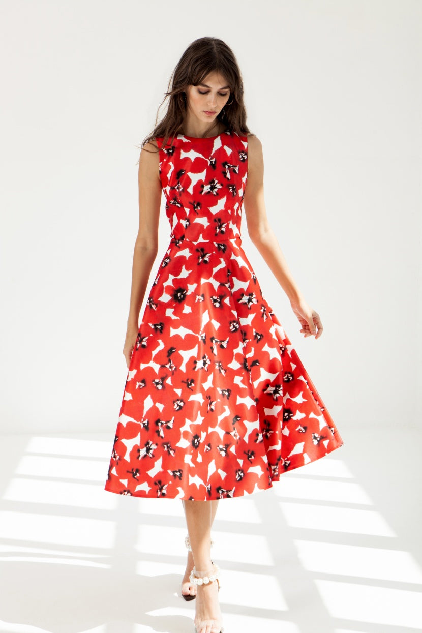 Red Flake Midi Dress - Etxart & Panno USA
