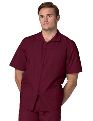 Adar Zipper Front Short Sleeve Lab Coat