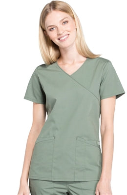 Cherokee Women's Mock Wrap Solid Scrub Top