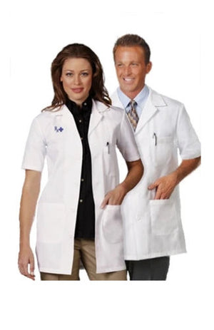 "Fashion Seal Short Sleeve 34"" Unisex Lab Coat"