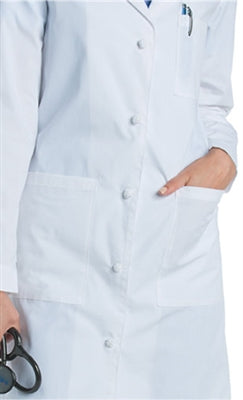 "Women's 36"" Knot Button Cotton Lab Coat 3172"