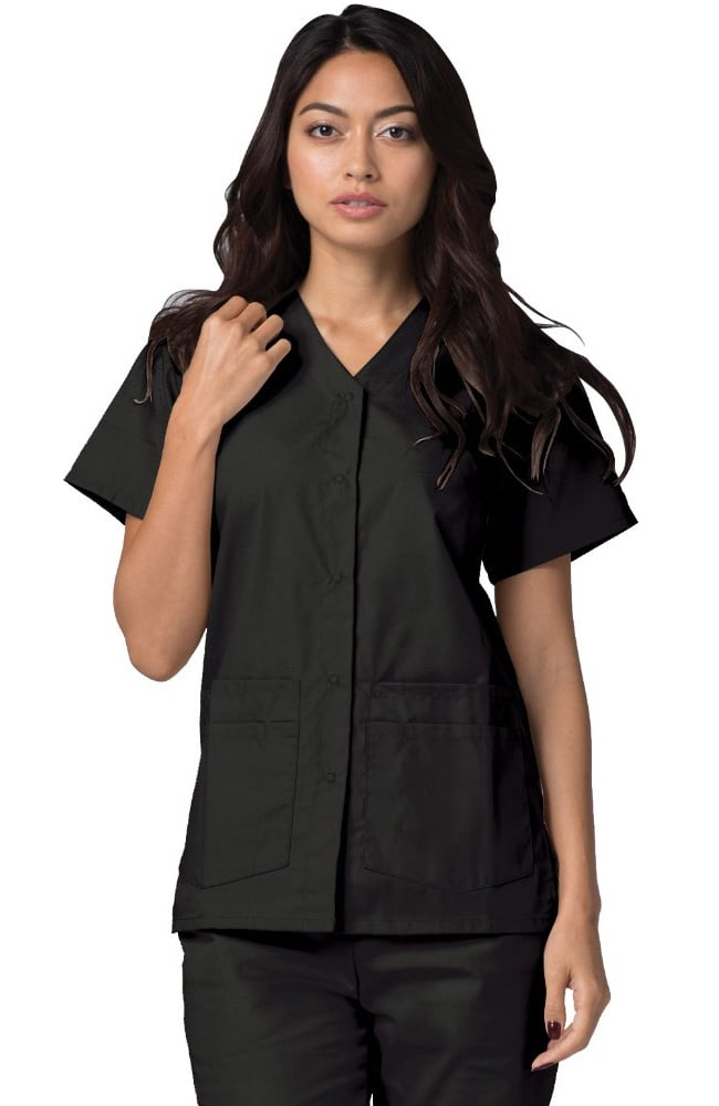 Adar Women's Double Pocket Snap Front Scrub Top 604