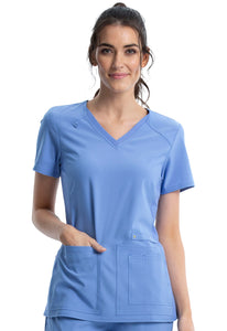 Cheorkee Women's V Neck Knit Panel Scrub Top CK605