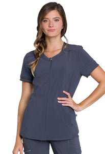 Cherokee Women's Stretch Zipper V Neck Scrub Top CK810A