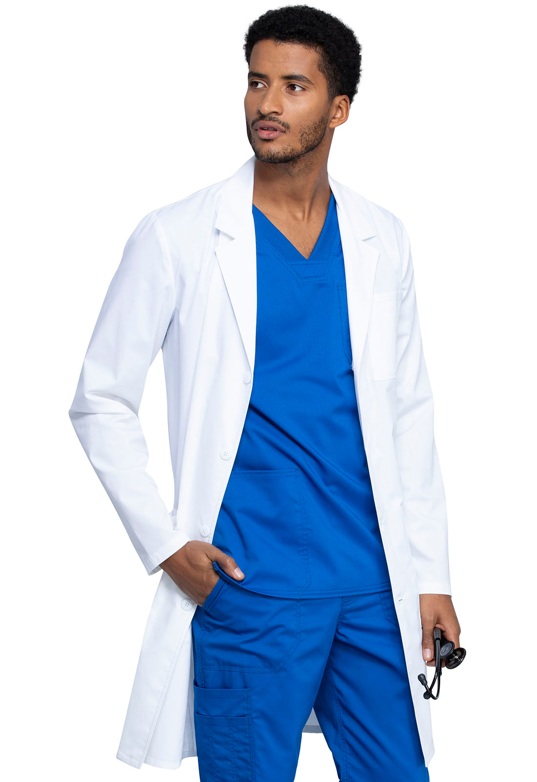 "Cherokee 40"" Men's Antimicrobial Notch Lapel Lab Coat WW410AB"