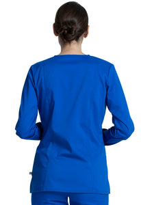Cherokee Women's Antimicrobial V-Neck Long Sleeve Scrub Top WW855AB