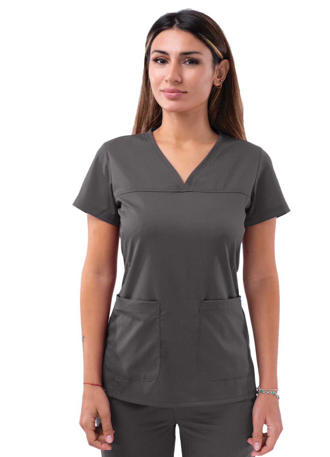 Adar Women's Sweetheart V-Neck Scrub Top