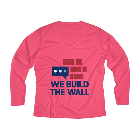 "Long Sleeve Performance ""We Build the Wall"" V-neck Tee"
