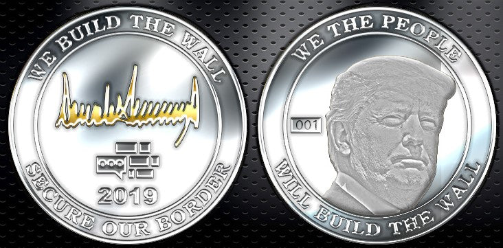 Trump Signature We Build The Wall Silver Coin