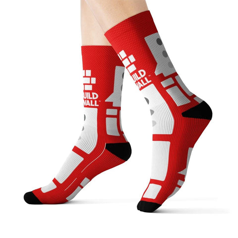Image of Red with White Emblem Socks