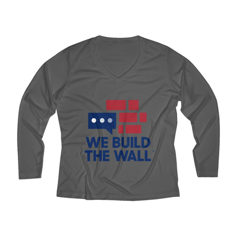 "Image of Long Sleeve Performance ""We Build the Wall"" V-neck Tee"