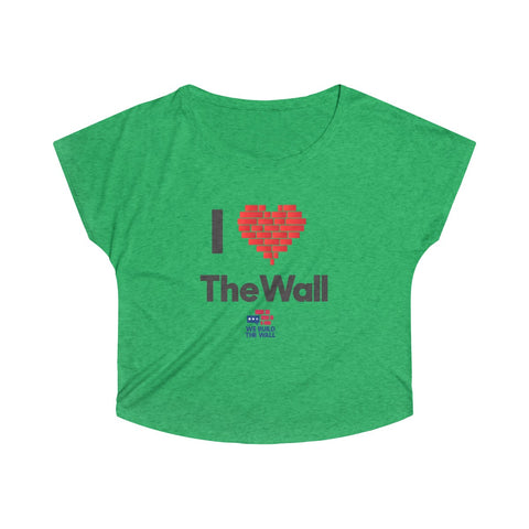 "Image of Women's Wide Neck ""I Love the Wall"""