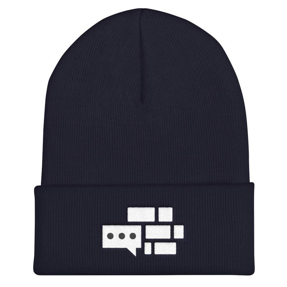 All White Emblem Beanie