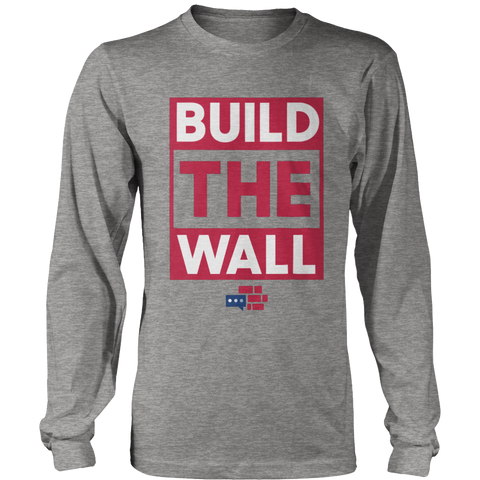 Image of BUILD THE WALL Red Long Sleeve Shirt