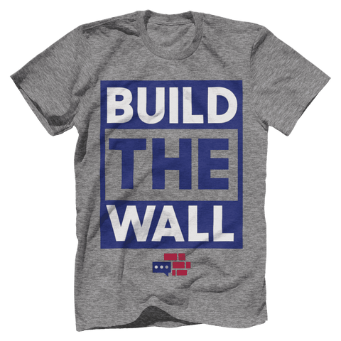 Image of BUILD THE WALL blue T-Shirt