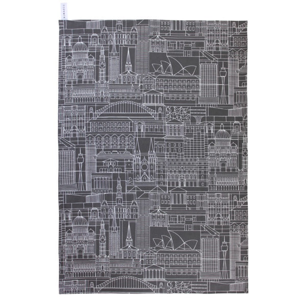 Tea Towel Sydney Print White On Charcoal Base