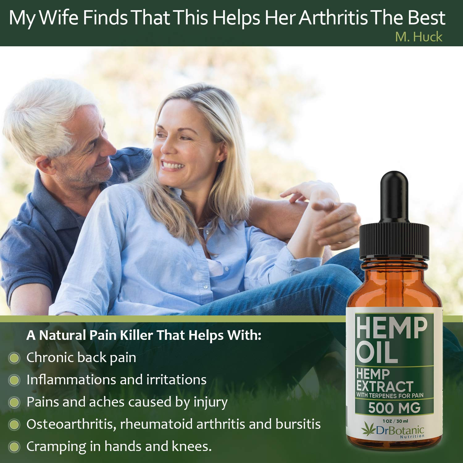 Hemp Oil with 500 mg Hemp Extract for Pain, Stress and Anxiety Relief   Helps with Sleep, Mood and Skin  Anti Inflammatory and Energy Boost Herbal