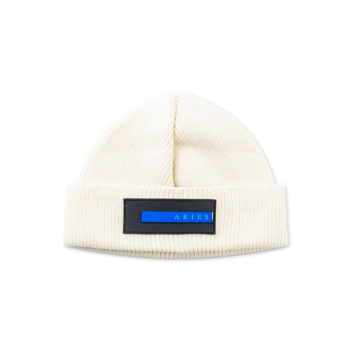 rubber patch beanie (white)