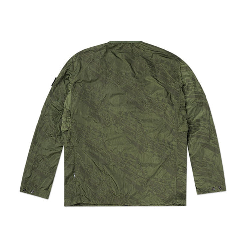 imprint nylon colarless jacket (olive)